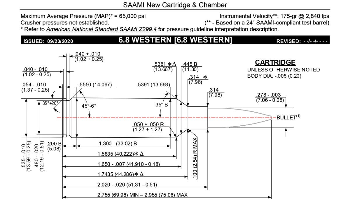 SAAMI Document — Drawing of 6.8 Western cartridge with dimensions